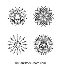 snow flakes collection black and white, vector art...