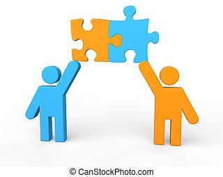3d men sharing puzzle pieces