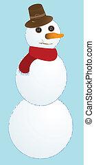 snow man, vector art illustration