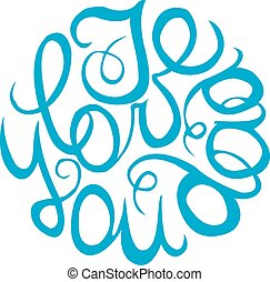 Happy Fathers Day handlettering element in blue color. I...