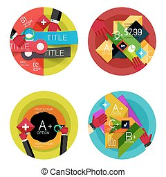 Set of option presentation labels, flat design web...