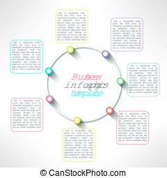 Vector circle process infographics template. Colorful options choice, instruction or presentation elements
