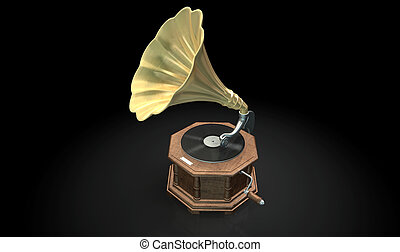 Gramophone Dark Background - An old brass and wood...