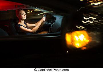 Driving a car at night