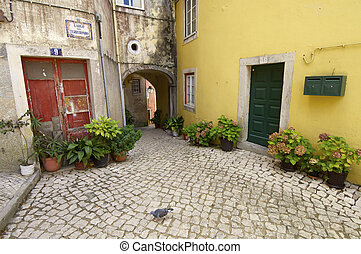 Sintra - Street paved with cobblestones in Sintra, Portugal