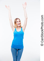 Smiling young woman with raised hands up