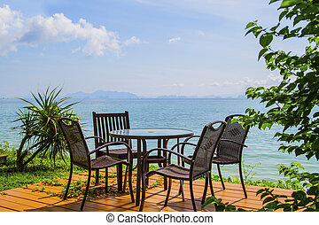 chairs on perfect tropical white sand beach
