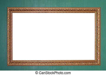 Picture frame - Isolated fancy picture frame on a green wall