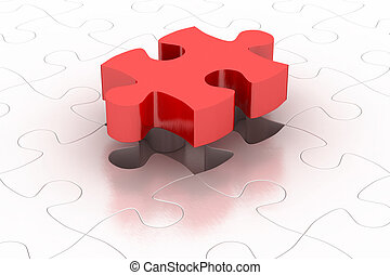 Puzzle piece - Red 3D puzzle piece with item puzzle...