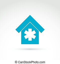 Vector blue medical building illustration, simple hospital icon with white cross.  Emergency symbol.
