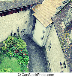 Courtyard of The Chillon Castle ,Montreux, Switzerland. -...