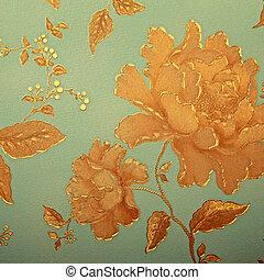 Vintage blue wallpaper with golden rose pattern