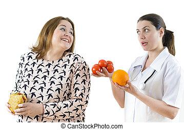 doctor, aconsejar, Un, corpulento, mujer, a, comer, sano,