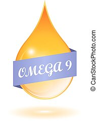 Omega 9 icon - Omega 9 drop icon on white background
