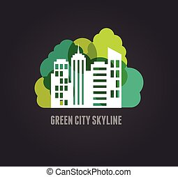 Colorful real estate, city and skyline icon