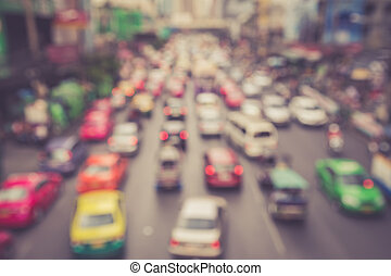 Blur of car and traffic jam in Bangkok, Thailand - Blurred...