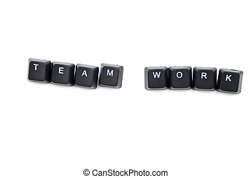 Team work words composed with letters of computer keyboard...