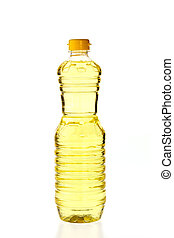 Vegetable oil for cooking in a bottle isolated on white...