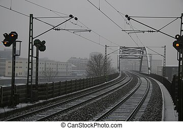 railroad line in the winter