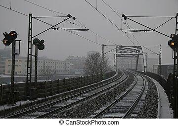 railroad line in the winter