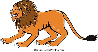 Angry Lion Crouching Side Cartoon - Illustration of an angry...