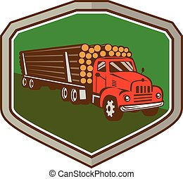 Truck Vintage Logging Shield Retro - Illustration of a...