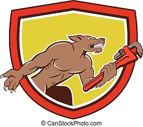 Wolf Plumber Monkey Wrench Shield Cartoon - Illustration of...