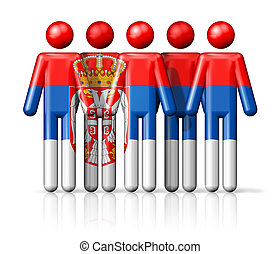 Flag of Serbia on stick figure - national and social...