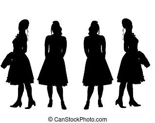 Young women-silhouette - four young women-silhouette