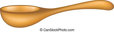 Wooden spoon in brown design on white background