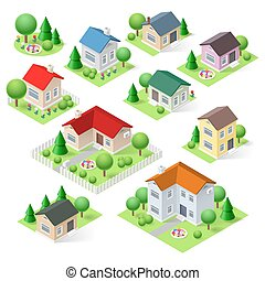 House set icons isometric 3d with flower trees and fence