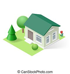 Isometric home - 3d small home  with flowers and trees