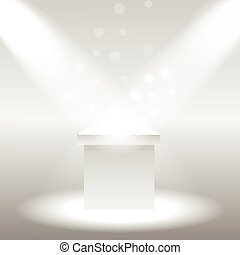 Single empty pedestal or column under the rays projectors...