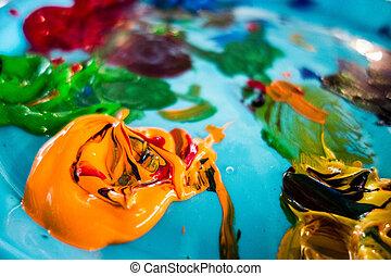 mezclado, aceite, pinturas, en, paleta, con, vario, colores,...