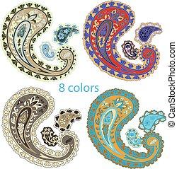 Traditional ornamental set. Paisley design