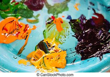 aceite, pinturas, paleta, colores, vario, mezclado