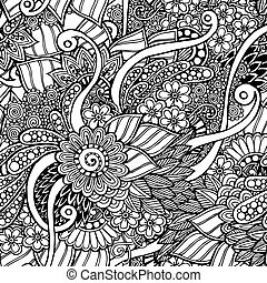 Seamless floral retro doodle black and white background...