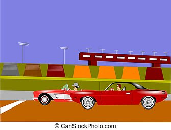 auto race background - cars racing on strip background