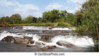 Famous Popa falls in Caprivi, North Namibia, landscape