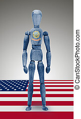 Wood figure mannequin with US state flag bodypaint - Idaho -...