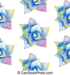 Watercolor seamless pattern with succulent. Hipster...