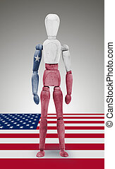 Wood figure mannequin with US state flag bodypaint - Texas -...