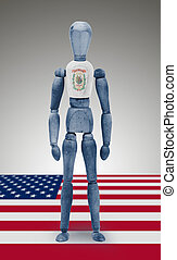 Wood figure mannequin with US state flag bodypaint - West...