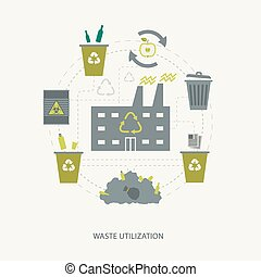 Recycling garbage and waste utilization concept...