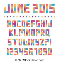 Colorful bright font