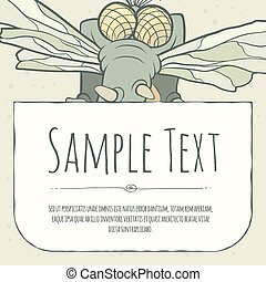 Cute doodle cartoon monster greeteng or invitation card with...