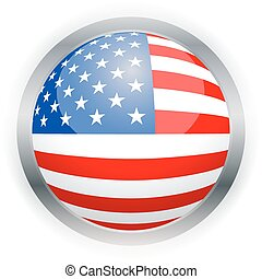 North American USA flag button, Isolated vector...