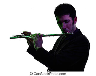 man playing transverse flute player silhouette - one...