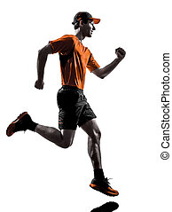man runner jogger running jogging silhouette - one young man...