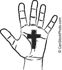 cross - hand with cross symbol of christianity